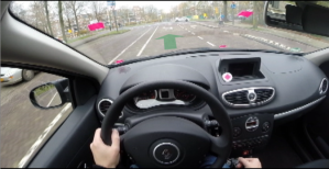 Driver's perspective - the arrow shows which lane to be in...